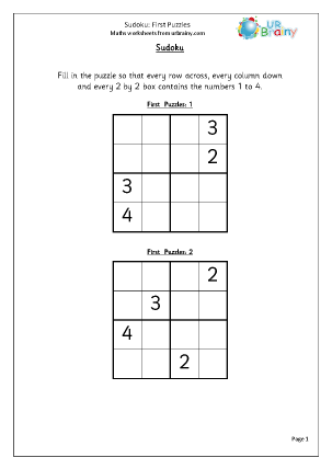 Preview of worksheet Sudoku First