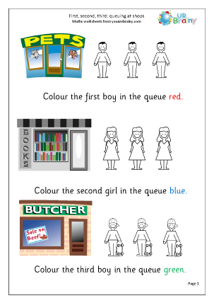 Preview of worksheet First second and third: shops
