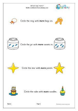 Preview of worksheet Which has more? (1)