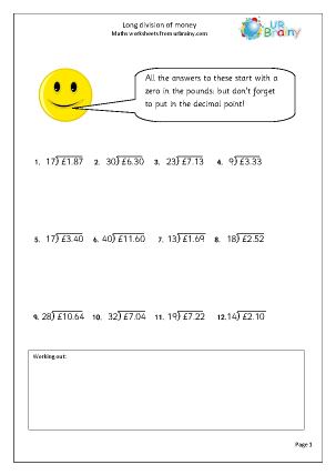 Preview of worksheet Long division: money