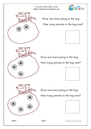 Preview of worksheet One more than - coins