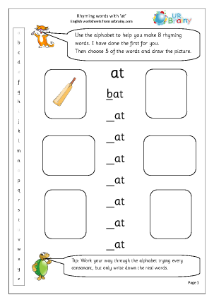 Preview of worksheet  Rhyming words with 'at'