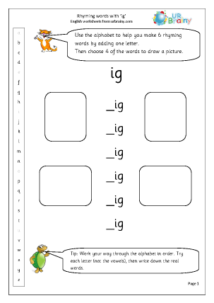 Preview of worksheet  Rhyming words with 'ig'