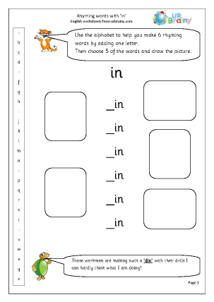 Preview of worksheet  Rhyming words with 'in'