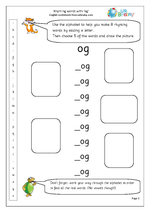 Preview of worksheet  Rhyming words with 'og'