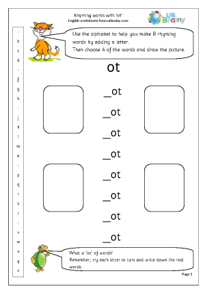 Preview of worksheet  Rhyming words with 'ot'