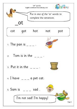 Preview of worksheet More on 'ot' words.