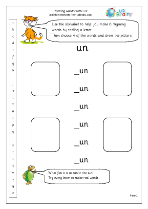 Preview of worksheet  Rhyming words with 'un'