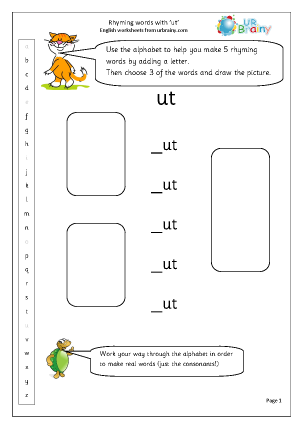 Preview of worksheet  Rhyming words with 'ut'