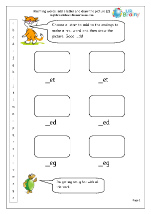 Preview of worksheet  Rhyming words: add a letter (2)