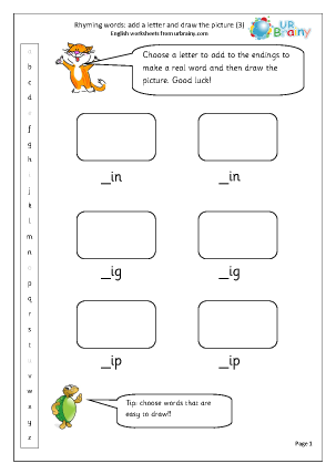 Preview of worksheet  Rhyming words: add a letter (3)
