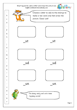 Preview of worksheet  Rhyming words: add a letter (5)