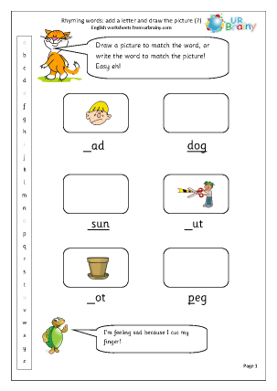 Preview of worksheet  Rhyming words: add a letter (7)