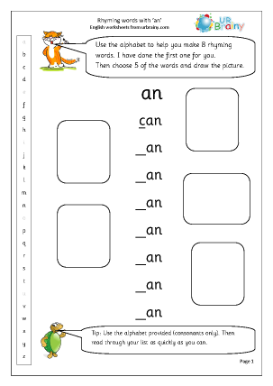 Preview of worksheet  Rhyming words with 'an'