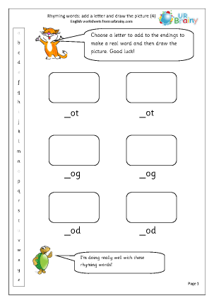 Preview of worksheet  Rhyming words: add a letter (4)