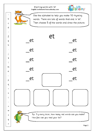 Preview of worksheet  Rhyming words with 'et'