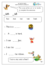 More on 'un' and 'ut' words.