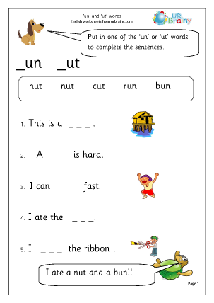 Preview of worksheet  More on 'un' and 'ut' words.