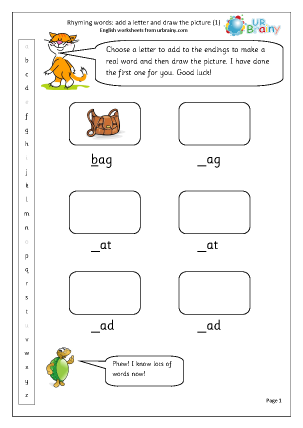 Preview of worksheet  Rhyming words: add a letter (1)