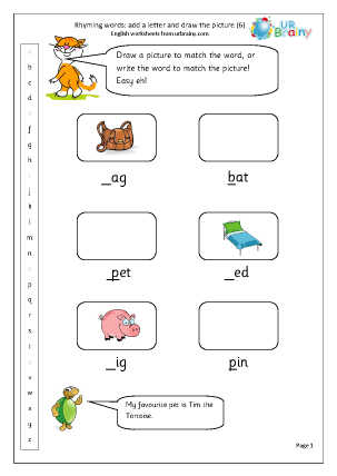 Preview of worksheet  Rhyming words: add a letter (6)