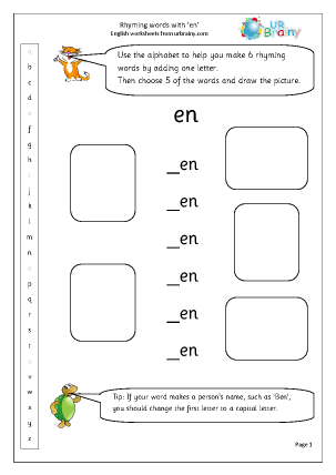 Preview of worksheet  Rhyming words with'en'