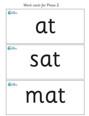Word cards: at sat mat