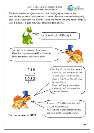 Preview of worksheet Short multiplication: 3-digit numbers multiplied by 1-digit.