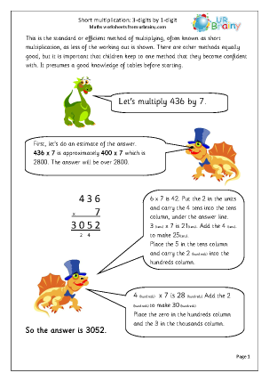 Multiplication Maths Worksheets for Year 6 (age 10-11)