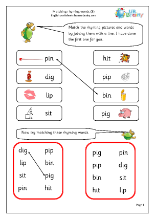 Preview of worksheet  Matching Rhyming Words (i)