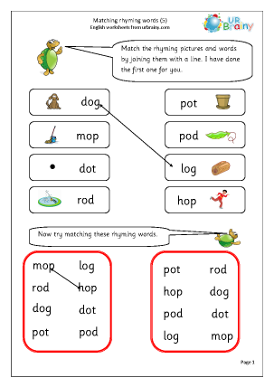 Preview of worksheet  Matching Rhyming Words (o)