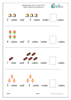 addition from 0 to 5 cakes addition maths worksheets for later reception age 4 5. Black Bedroom Furniture Sets. Home Design Ideas