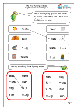 Matching Rhyming Words (u)