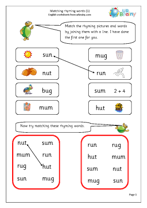 Preview of worksheet  Matching Rhyming Words (u)
