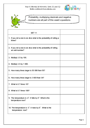 Preview of worksheet Mental Arithmetic Sets  11 and 12