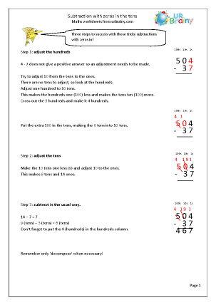 Preview of worksheet Subtracting with zeros