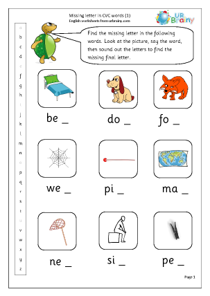 Worksheet Cvc Word Worksheets more cvc words and activities english worksheets for resources missing letter in 1