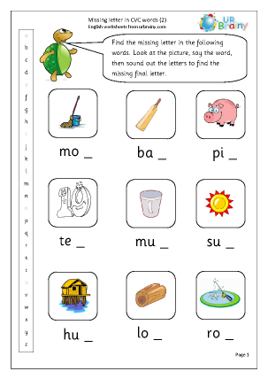 Worksheet Cvc Word Worksheets more cvc words and activities english worksheets for resources missing letter in 2