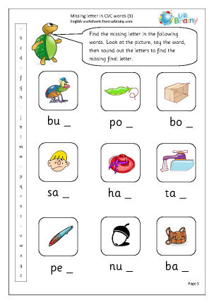 Preview of worksheet  Missing Letter in CVC Words (3)