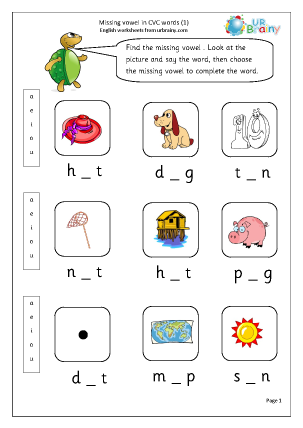 Preview of worksheet  Missing Vowels in CVC Words (1)