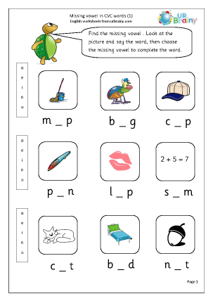 Words - Beginning, middle and Final Letter Sounds Worksheets