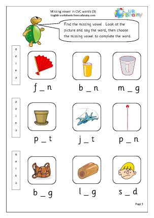 Preview of worksheet  Missing Vowels in CVC Words (3)