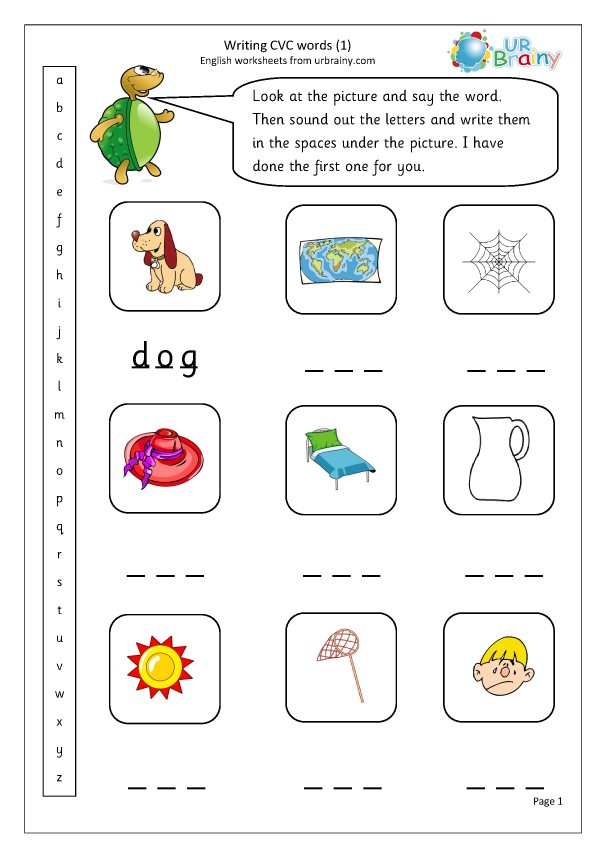 Writing Cvc Words 1 More Cvc Words And Activities By Urbrainy Com