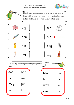 Preview of worksheet   More Matching Rhyming Words (1)