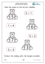 using the add sign teddies addition maths worksheets for later reception age 4 5. Black Bedroom Furniture Sets. Home Design Ideas
