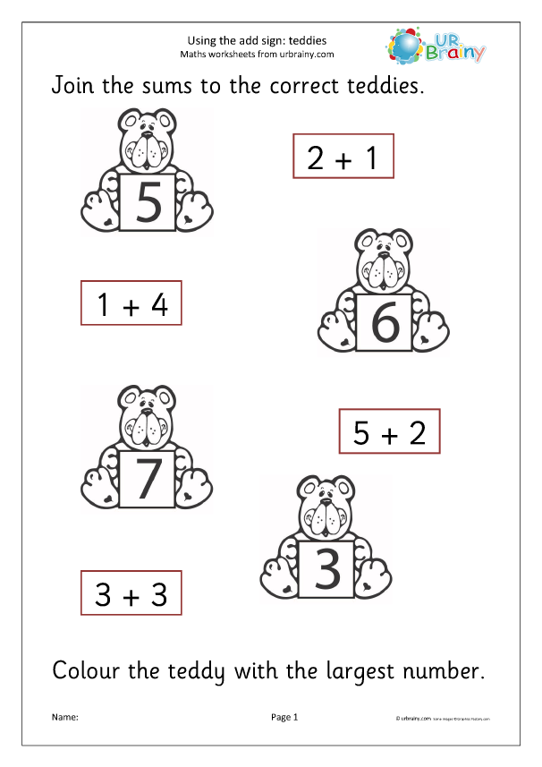 Preview of 'Using the add sign teddies'