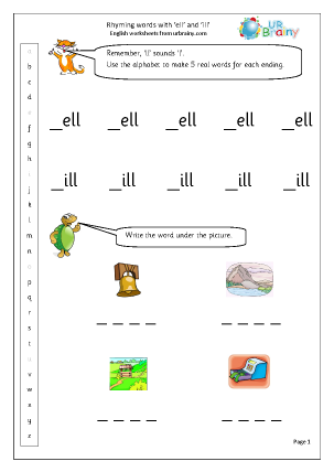 Preview of worksheet  Rhyming Words with ell and ill