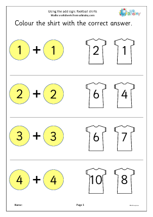 math worksheet : using the add sign football shirts addition maths worksheets for  : Maths Worksheets For Reception
