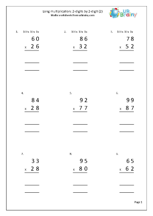 Preview of worksheet Long multiplication: 2-digits by 2-digits (2)