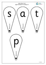 Letter Fans: Set 1. s a t and p