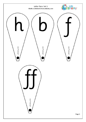 Letter Fans: Set 5. h b f ff l ll and ss